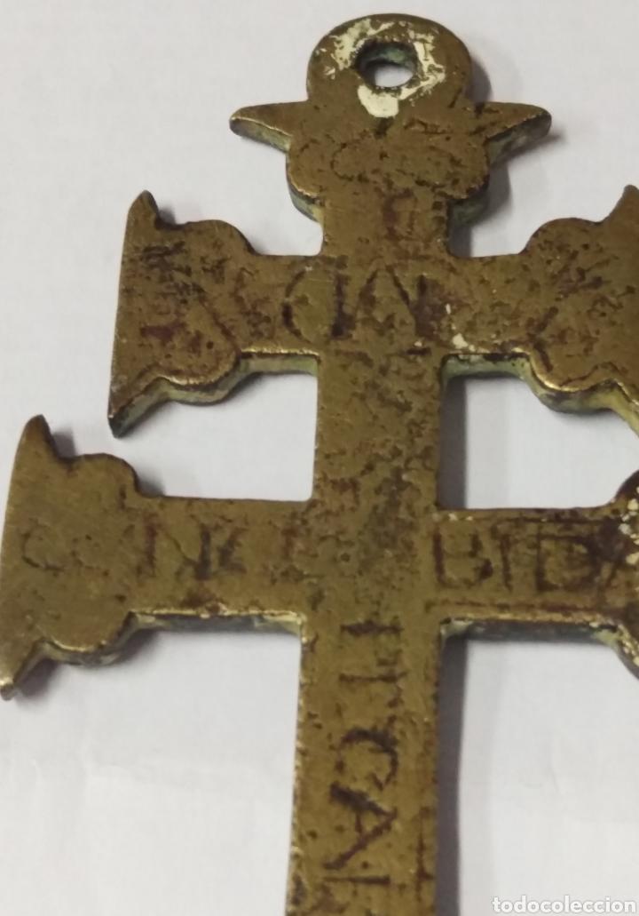 Antigüedades: CRUZ DE CARAVACA BRONCE GRABADO S. XVII - Foto 4 - 181601303