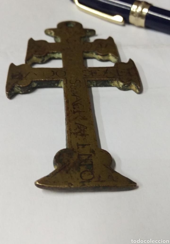 Antigüedades: CRUZ DE CARAVACA BRONCE GRABADO S. XVII - Foto 6 - 181601303