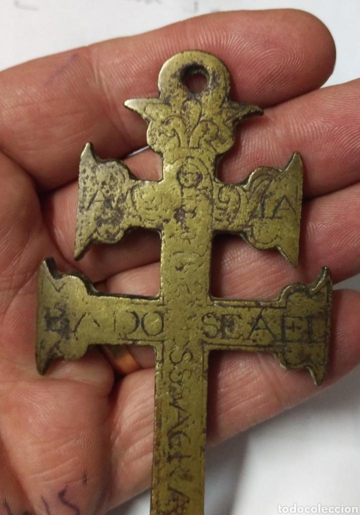 Antigüedades: CRUZ DE CARAVACA BRONCE GRABADO S. XVII - Foto 8 - 181601303
