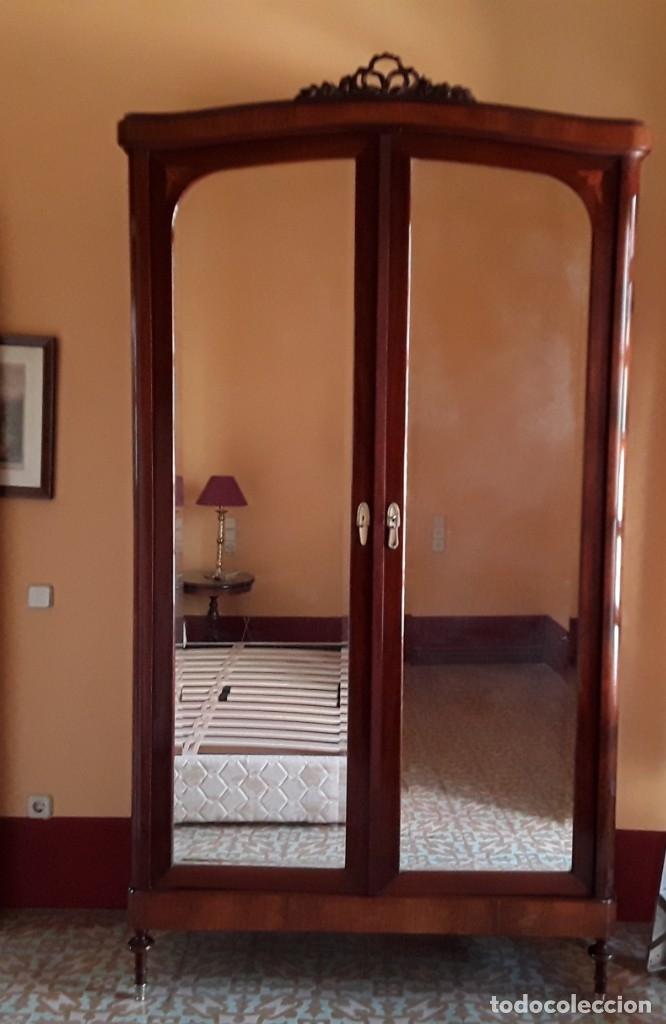 Antigüedades: Habitación completa caoba, de J.M.Busquets (Girona). Años 30. Cama,mesilla ,armario y sillas. - Foto 14 - 181602880