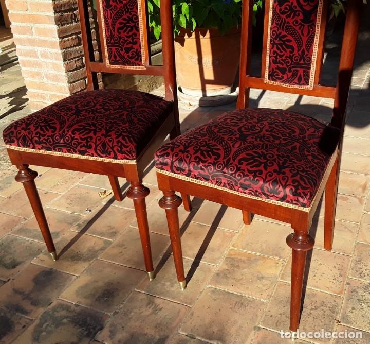 Antigüedades: Habitación completa caoba, de J.M.Busquets (Girona). Años 30. Cama,mesilla ,armario y sillas. - Foto 20 - 181602880