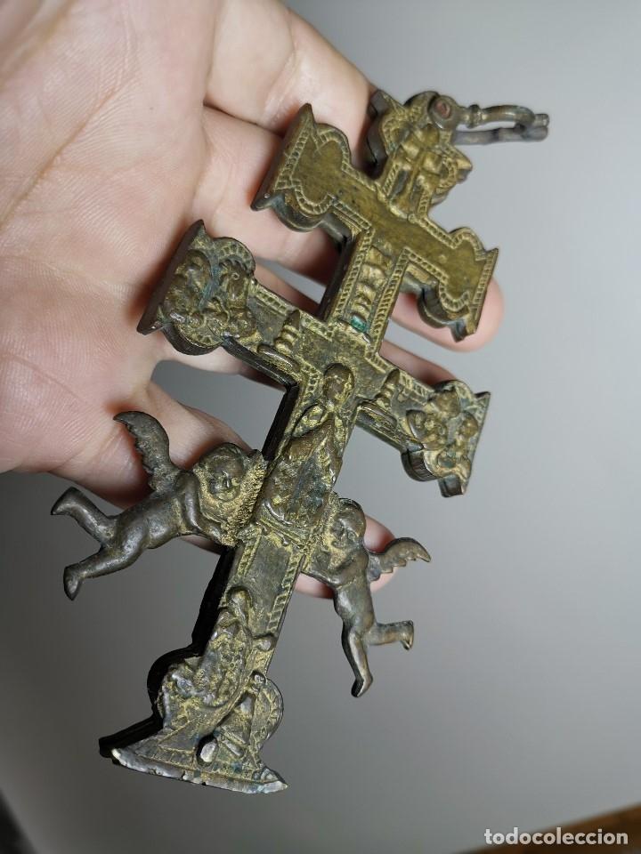 Antigüedades: EXCEPCIONAL GRAN CRUZ PORTABLE DE CARAVACA BRONCE-EXQUISITO CINCELADO-ORIGINAL S. -XVIII--REF-ZZ - Foto 5 - 181605848
