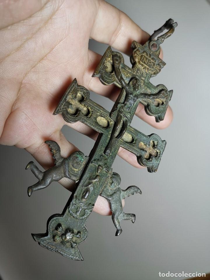 Antigüedades: EXCEPCIONAL GRAN CRUZ PORTABLE DE CARAVACA BRONCE-EXQUISITO CINCELADO-ORIGINAL S. -XVIII--REF-ZZ - Foto 9 - 181605848