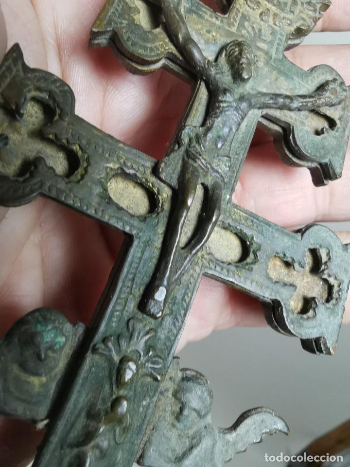 Antigüedades: EXCEPCIONAL GRAN CRUZ PORTABLE DE CARAVACA BRONCE-EXQUISITO CINCELADO-ORIGINAL S. -XVIII--REF-ZZ - Foto 22 - 181605848