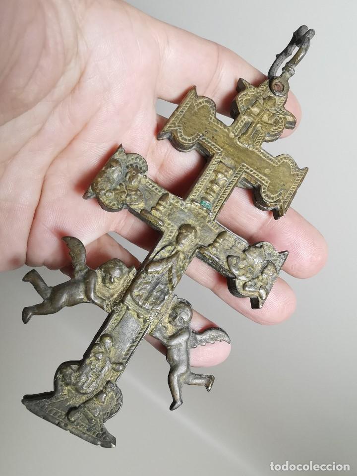 Antigüedades: EXCEPCIONAL GRAN CRUZ PORTABLE DE CARAVACA BRONCE-EXQUISITO CINCELADO-ORIGINAL S. -XVIII--REF-ZZ - Foto 30 - 181605848