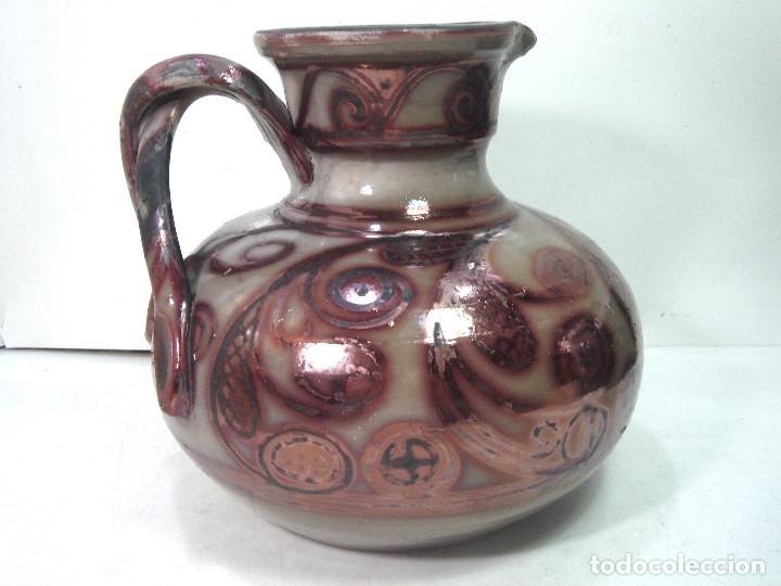 Antigüedades: PRECIOSA Y ANTIGUA JARRA CERAMICA MANISES - REFLEJOS METALICOS - FIRMADA VASIJA ANFORA - Foto 4 - 181622962