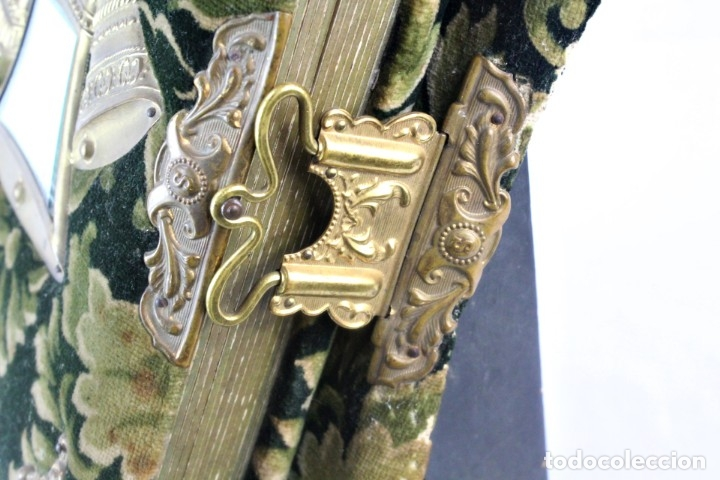 Antigüedades: Album modernista de sobremesa, es a su vez espejo, velvet bronce ligero s XIX Barcelona Art Nouveau - Foto 6 - 181705767