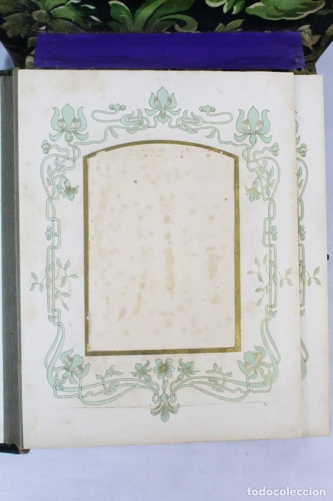 Antigüedades: Album modernista de sobremesa, es a su vez espejo, velvet bronce ligero s XIX Barcelona Art Nouveau - Foto 9 - 181705767