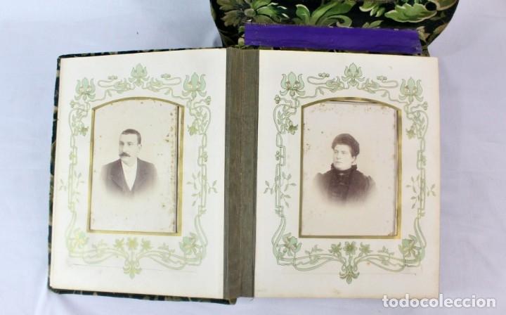 Antigüedades: Album modernista de sobremesa, es a su vez espejo, velvet bronce ligero s XIX Barcelona Art Nouveau - Foto 10 - 181705767