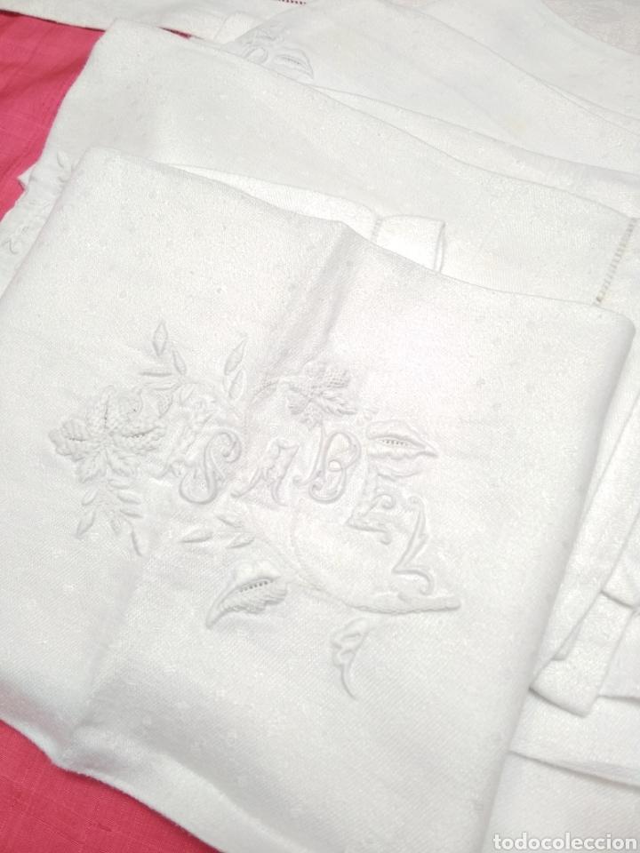 Antigüedades: Mantel de hilo adamascado siglo XIX 160 x 240 cm con servilletas - Foto 4 - 181721815