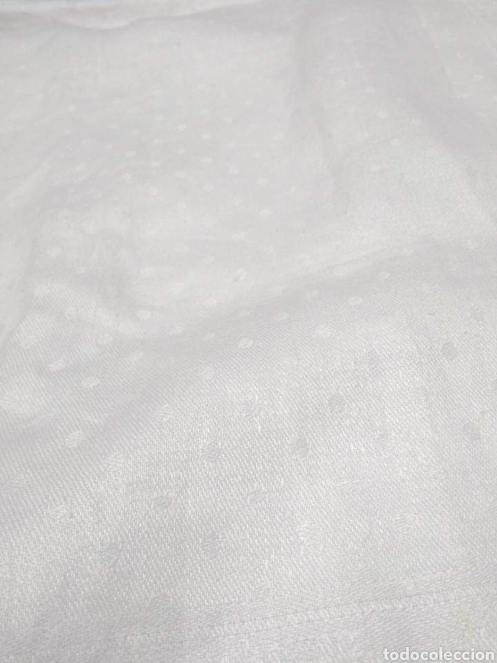 Antigüedades: Mantel de hilo adamascado siglo XIX 160 x 240 cm con servilletas - Foto 5 - 181721815