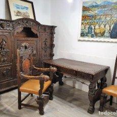 Antigüedades: DESPACHO ANTIGUO TALLADO ESTILO RENACIMIENTO ESPAÑOL. Lote 181743983