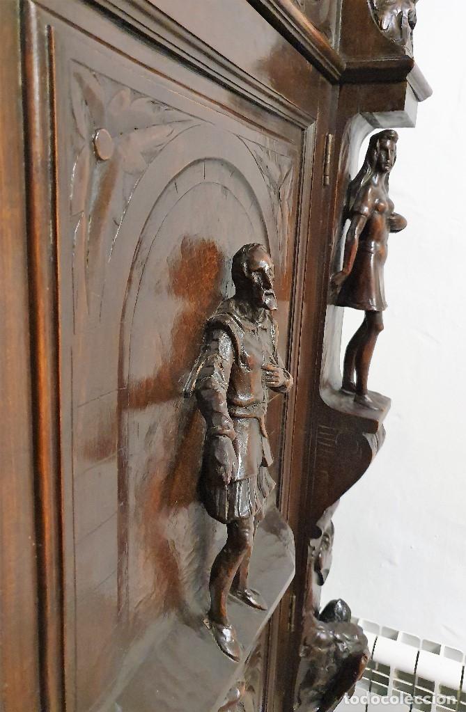 Antigüedades: DESPACHO ANTIGUO TALLADO ESTILO RENACIMIENTO ESPAÑOL - Foto 3 - 181743983