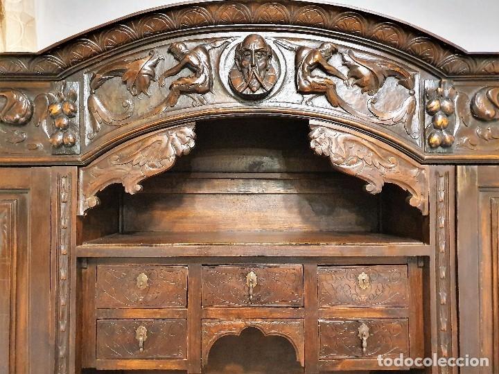 Antigüedades: DESPACHO ANTIGUO TALLADO ESTILO RENACIMIENTO ESPAÑOL - Foto 5 - 181743983