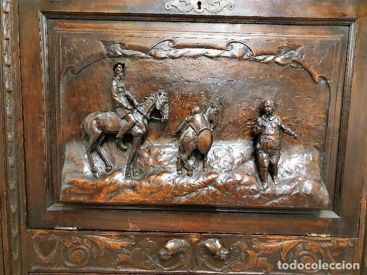 Antigüedades: DESPACHO ANTIGUO TALLADO ESTILO RENACIMIENTO ESPAÑOL - Foto 6 - 181743983