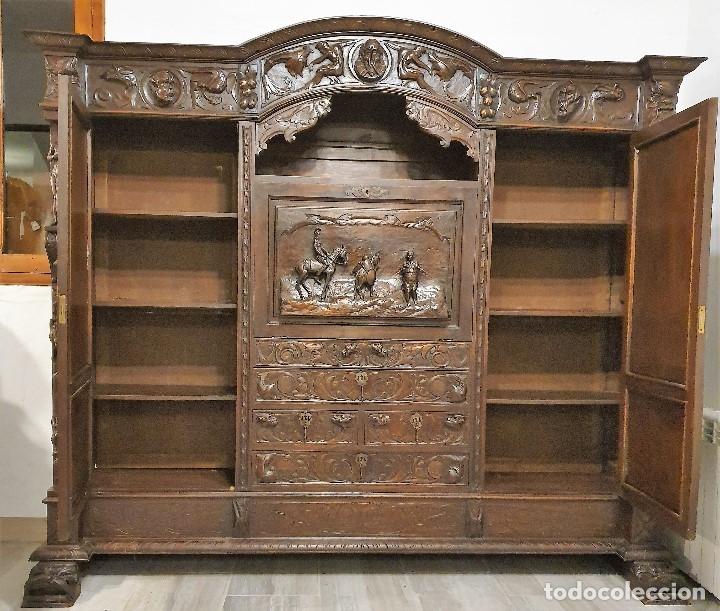 Antigüedades: DESPACHO ANTIGUO TALLADO ESTILO RENACIMIENTO ESPAÑOL - Foto 14 - 181743983