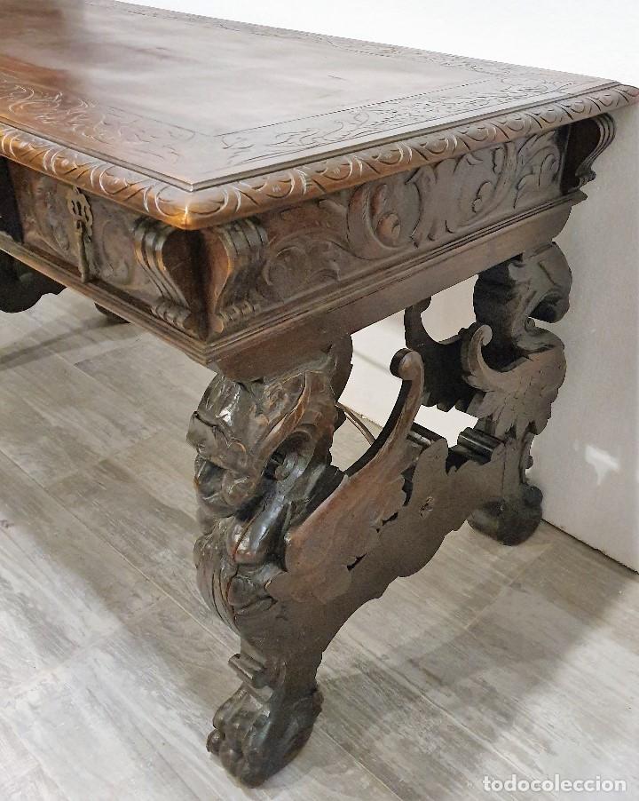 Antigüedades: DESPACHO ANTIGUO TALLADO ESTILO RENACIMIENTO ESPAÑOL - Foto 15 - 181743983