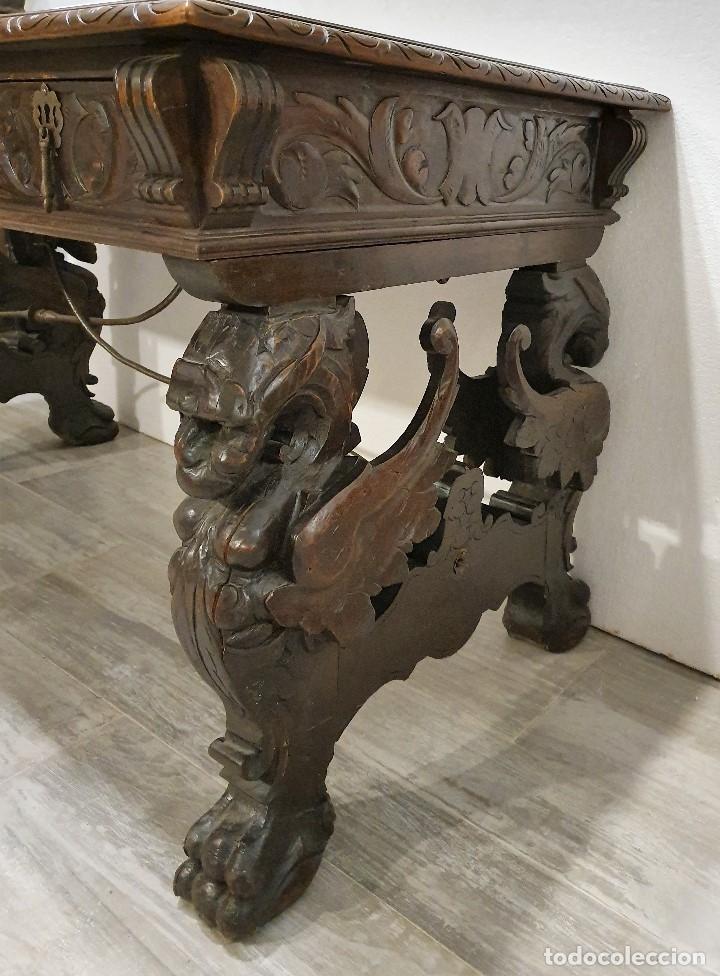 Antigüedades: DESPACHO ANTIGUO TALLADO ESTILO RENACIMIENTO ESPAÑOL - Foto 16 - 181743983