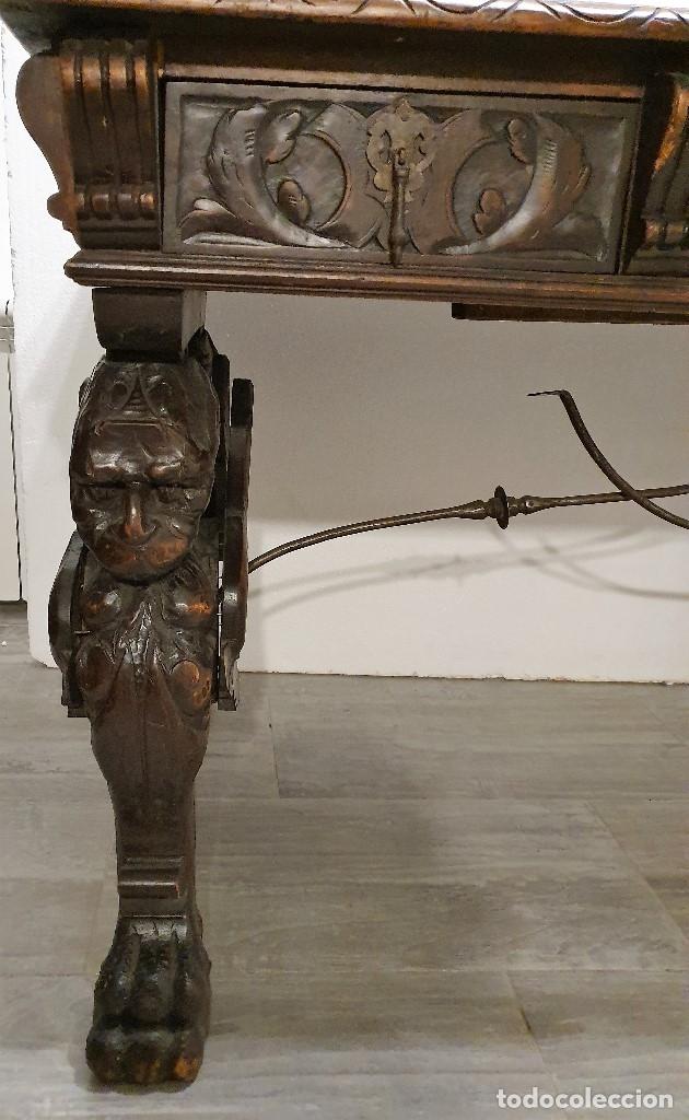 Antigüedades: DESPACHO ANTIGUO TALLADO ESTILO RENACIMIENTO ESPAÑOL - Foto 17 - 181743983