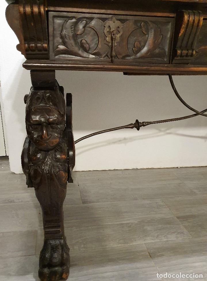 Antigüedades: DESPACHO ANTIGUO TALLADO ESTILO RENACIMIENTO ESPAÑOL - Foto 18 - 181743983