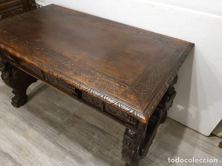 Antigüedades: DESPACHO ANTIGUO TALLADO ESTILO RENACIMIENTO ESPAÑOL - Foto 20 - 181743983