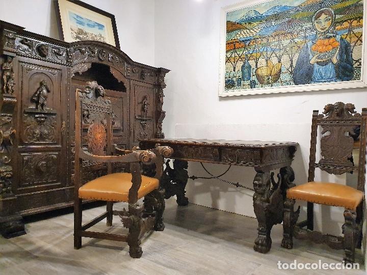 Antigüedades: DESPACHO ANTIGUO TALLADO ESTILO RENACIMIENTO ESPAÑOL - Foto 21 - 181743983