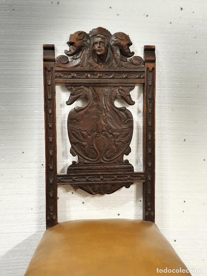Antigüedades: DESPACHO ANTIGUO TALLADO ESTILO RENACIMIENTO ESPAÑOL - Foto 23 - 181743983