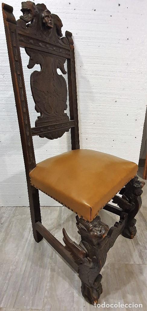 Antigüedades: DESPACHO ANTIGUO TALLADO ESTILO RENACIMIENTO ESPAÑOL - Foto 24 - 181743983