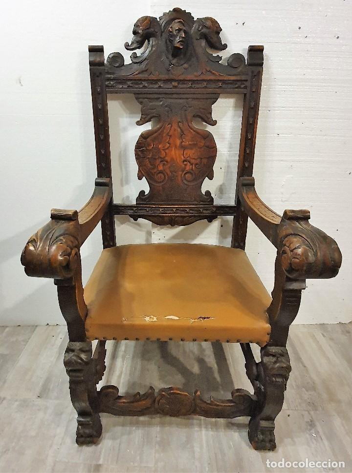 Antigüedades: DESPACHO ANTIGUO TALLADO ESTILO RENACIMIENTO ESPAÑOL - Foto 26 - 181743983