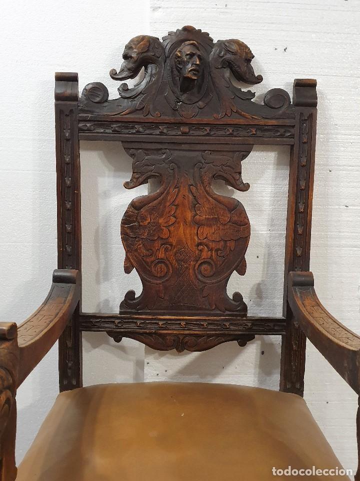 Antigüedades: DESPACHO ANTIGUO TALLADO ESTILO RENACIMIENTO ESPAÑOL - Foto 27 - 181743983