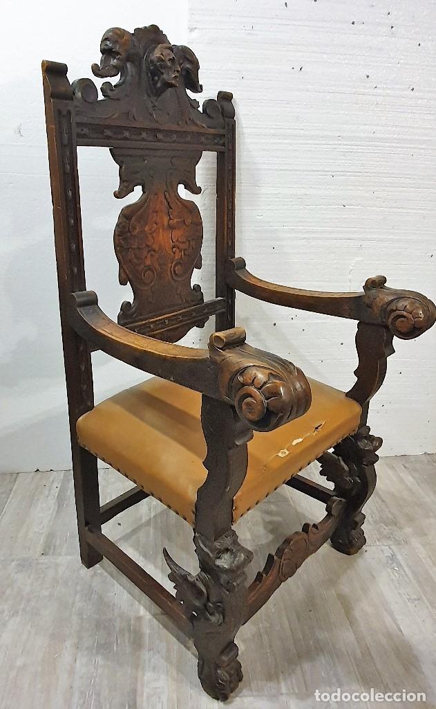 Antigüedades: DESPACHO ANTIGUO TALLADO ESTILO RENACIMIENTO ESPAÑOL - Foto 28 - 181743983