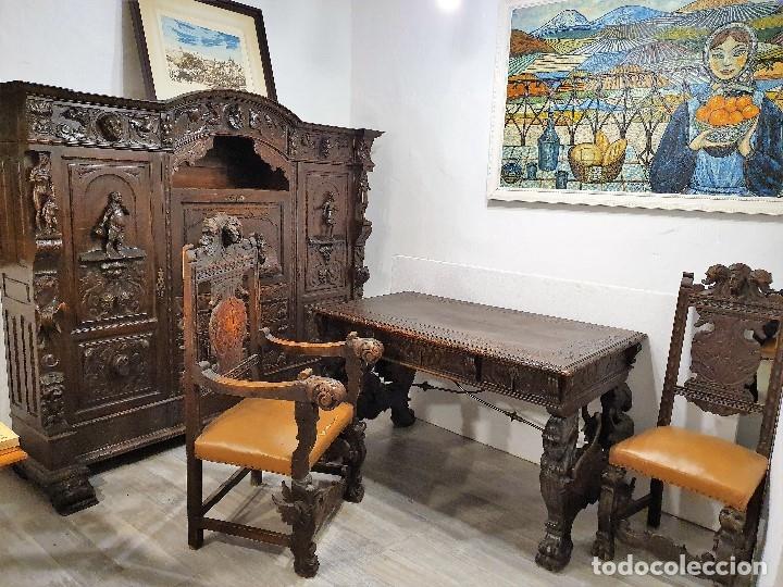 Antigüedades: DESPACHO ANTIGUO TALLADO ESTILO RENACIMIENTO ESPAÑOL - Foto 29 - 181743983