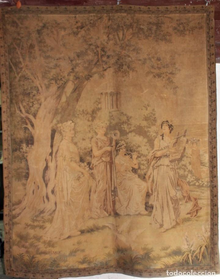 GRAN TAPIZ GOBELINOS DESPUÉS LIONEL PERAUX - CA 1900 - ESCENA GRIEGA - 180X150CMS (Antigüedades - Hogar y Decoración - Tapices Antiguos)