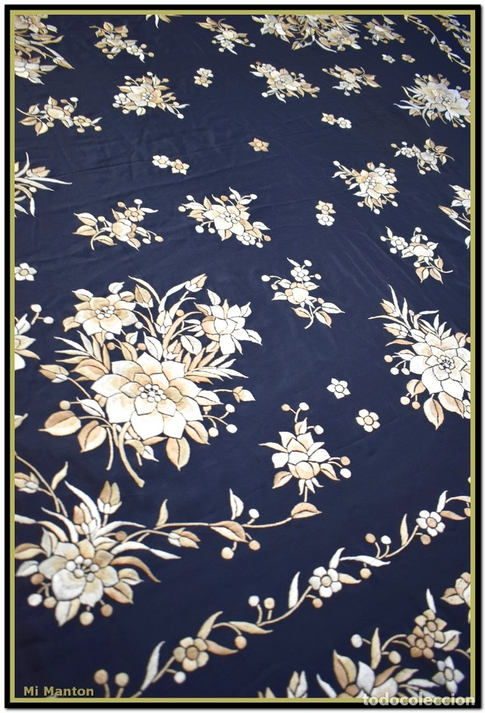 Antigüedades: Mi Mantón. Manton de Manila seda bordado a mano seda 150x150cm mas enrejado y flecos - Foto 6 - 181767017