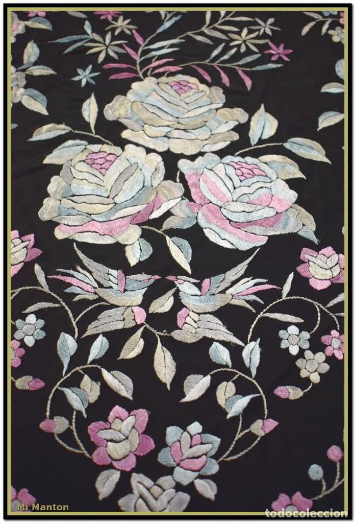 Antigüedades: Mi Mantón. Manton de Manila seda bordado a mano - Foto 2 - 181770352