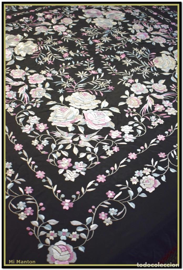 Antigüedades: Mi Mantón. Manton de Manila seda bordado a mano - Foto 3 - 181770352