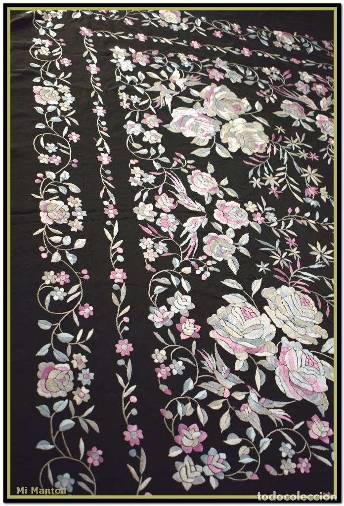 Antigüedades: Mi Mantón. Manton de Manila seda bordado a mano - Foto 4 - 181770352