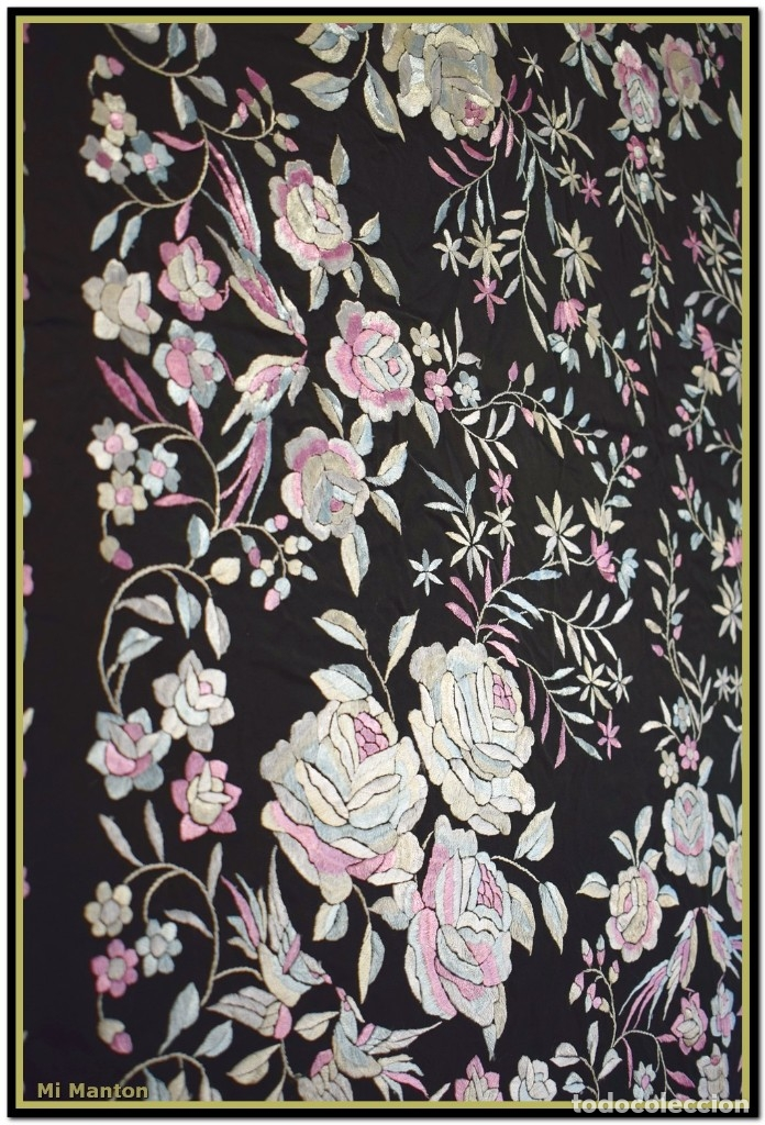 Antigüedades: Mi Mantón. Manton de Manila seda bordado a mano - Foto 5 - 181770352
