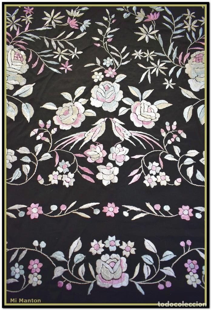 Antigüedades: Mi Mantón. Manton de Manila seda bordado a mano - Foto 6 - 181770352