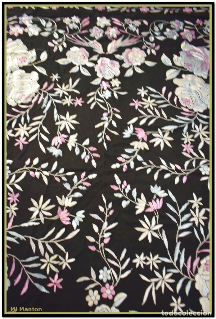 Antigüedades: Mi Mantón. Manton de Manila seda bordado a mano - Foto 7 - 181770352