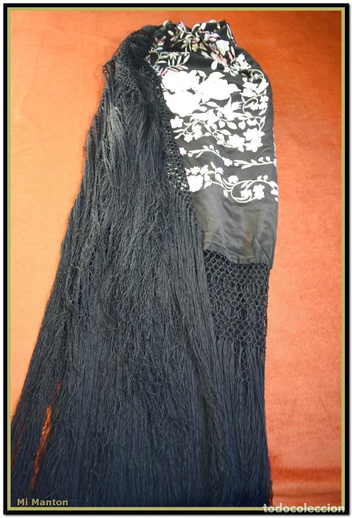 Antigüedades: Mi Mantón. Manton de Manila seda bordado a mano - Foto 9 - 181770352