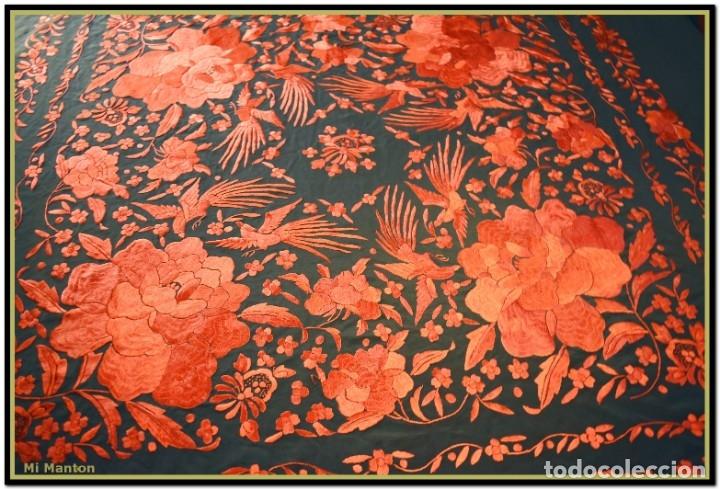 Antigüedades: Mi Mantón. Manton de Manila seda bordado a mano - Foto 2 - 181771411