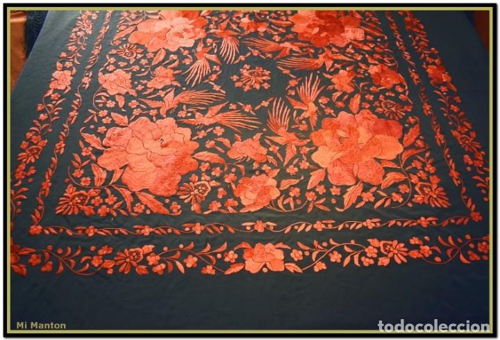 Antigüedades: Mi Mantón. Manton de Manila seda bordado a mano - Foto 3 - 181771411