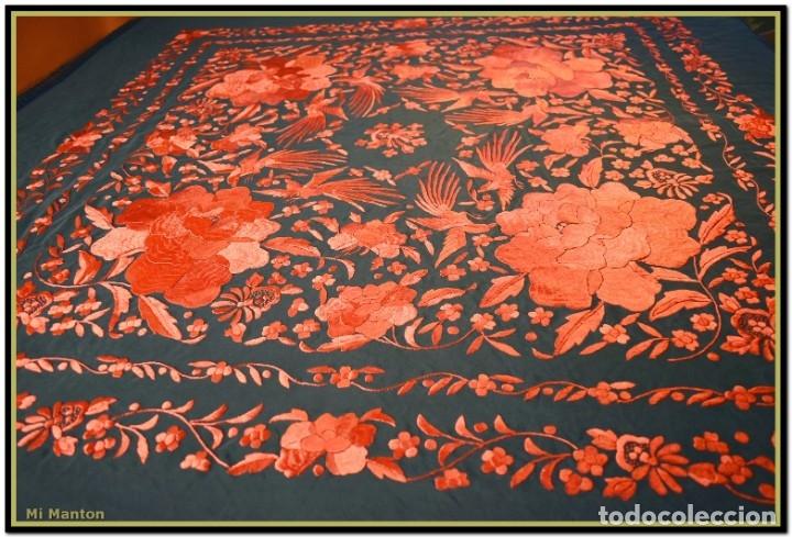 Antigüedades: Mi Mantón. Manton de Manila seda bordado a mano - Foto 4 - 181771411