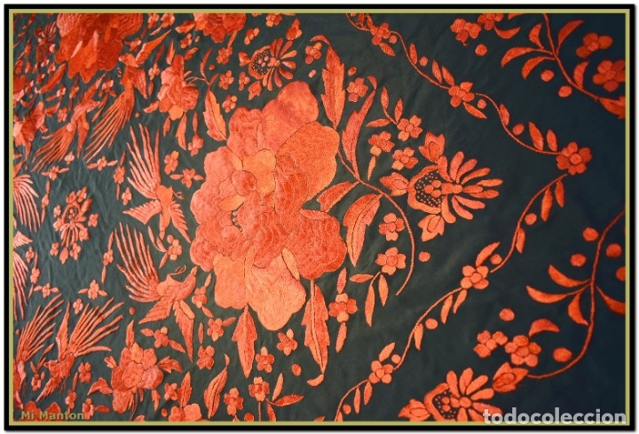Antigüedades: Mi Mantón. Manton de Manila seda bordado a mano - Foto 6 - 181771411