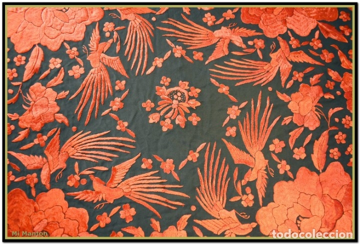 Antigüedades: Mi Mantón. Manton de Manila seda bordado a mano - Foto 7 - 181771411