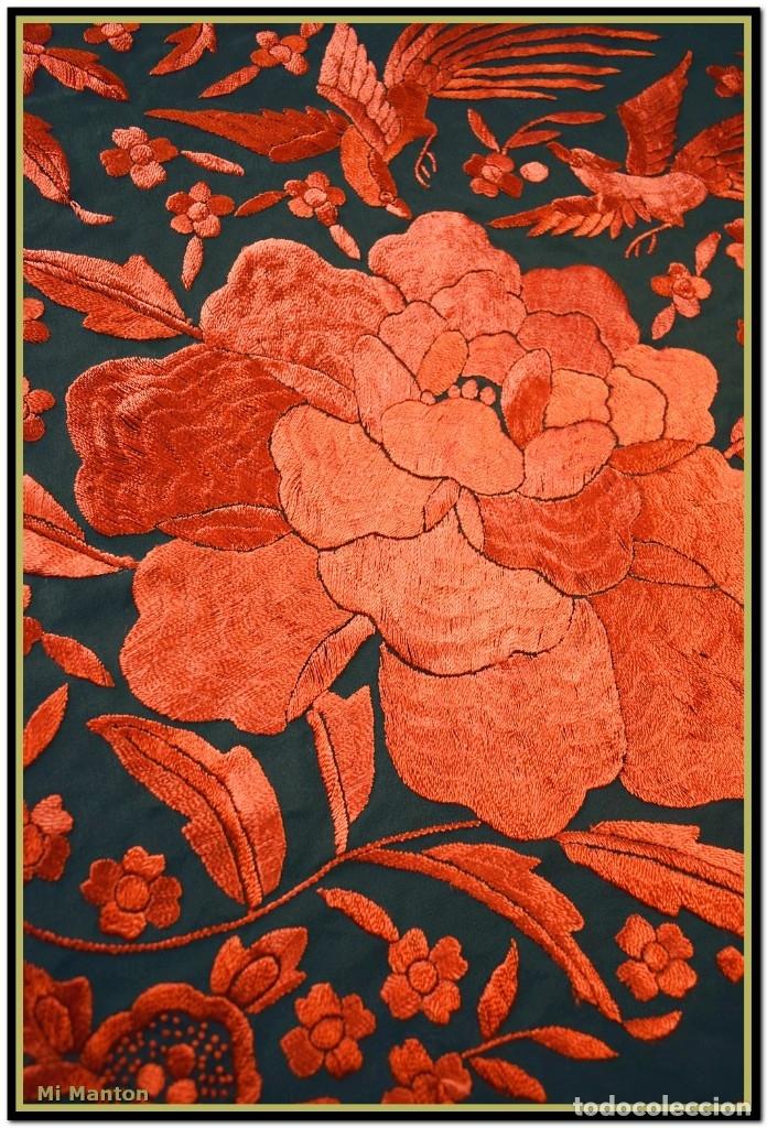 Antigüedades: Mi Mantón. Manton de Manila seda bordado a mano - Foto 8 - 181771411