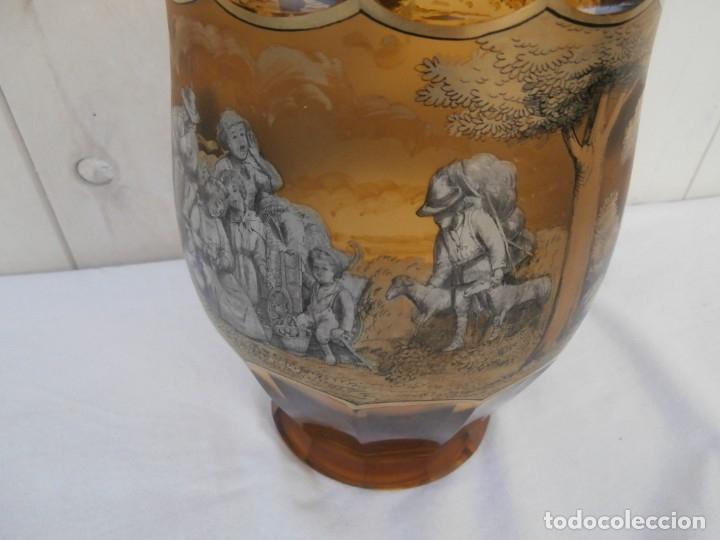 Antigüedades: cristal de principios del xx,esmaltado y tallado a mano,jarron centro de mesa,buen tamaño 24cm al - Foto 2 - 181772282