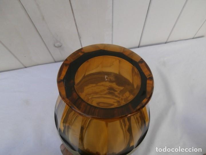 Antigüedades: cristal de principios del xx,esmaltado y tallado a mano,jarron centro de mesa,buen tamaño 24cm al - Foto 4 - 181772282