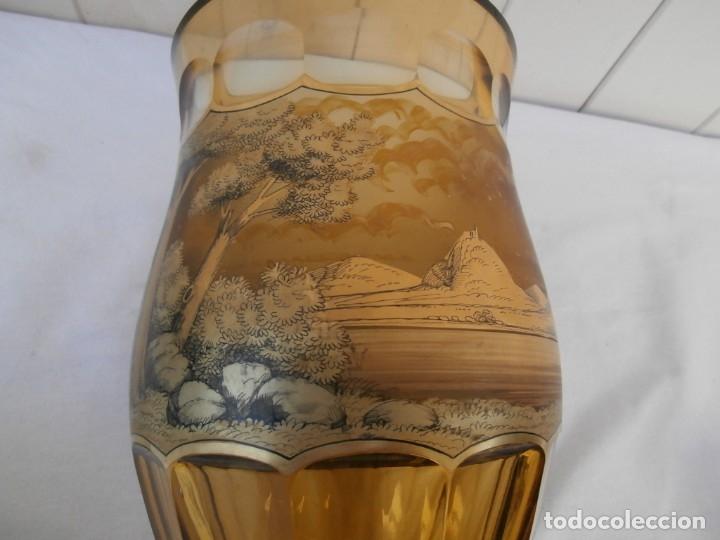 Antigüedades: cristal de principios del xx,esmaltado y tallado a mano,jarron centro de mesa,buen tamaño 24cm al - Foto 5 - 181772282